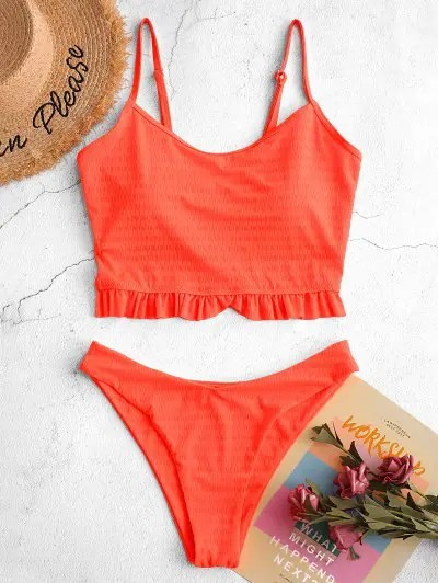 ZAFUL Neon Frilled Textured High Cut Tankini Swimsuit