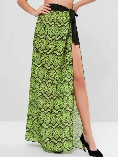 Snake Print Chiffon Wrap Skirt