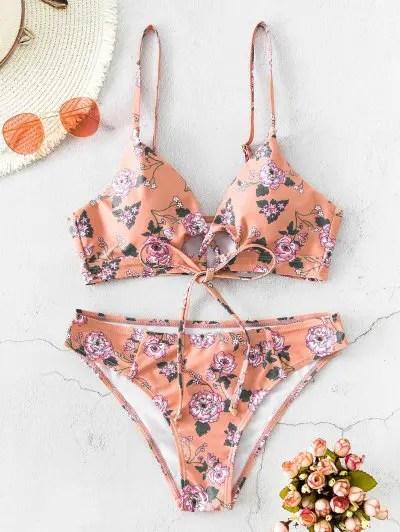 ZAFUL Tie Front Floral Bikini Swimsuit
