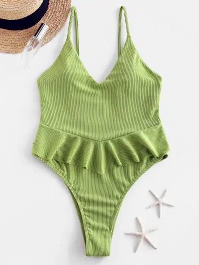 ZAFUL Ribbed Flounce High Cut Peplum Swimsuit