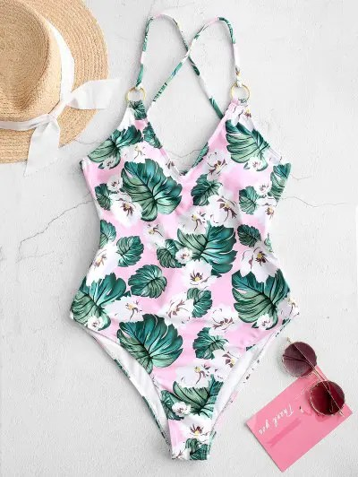ZAFUL Floral Backless One-piece Swimsuit