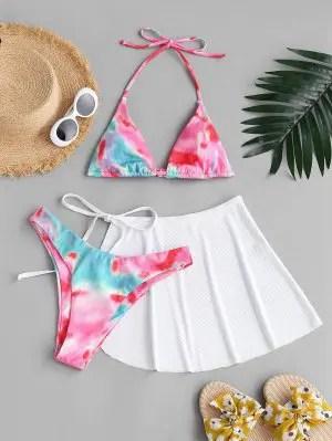 zaful ZAFUL Tie Dye Ribbed Halter Three Piece Bikini Swimwear