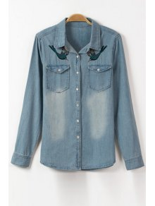 Bird Embroidery Flat Collar Long Sleeve Denim Shirt