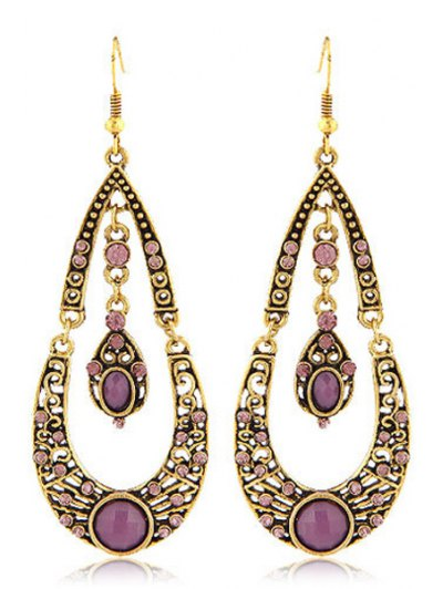 Pair of Retro Rhinestoned Water Drop Shape Earrings For Women