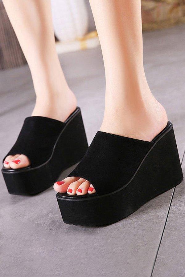 Black Flock Wedge Heel Slippers