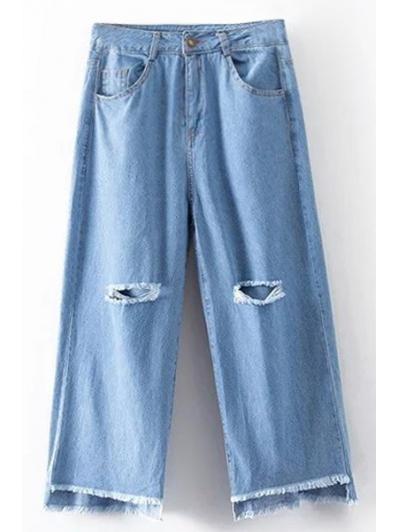 High Waist Broken Hole Wide Leg Jeans