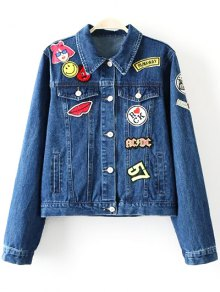 Patch Design Denim Turn Down Collar Jacket