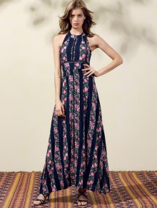 Floral Print High Slit Jewel Neck Sleeveless Dress - PURPLISH BLUE S