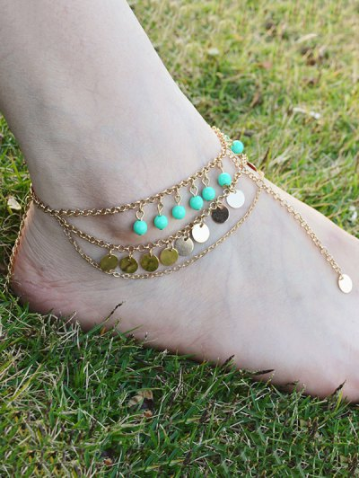 Multilayer Bead Sequins Tassel Anklet