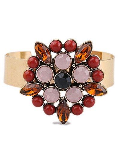 Flower Faux Gem Cuff Bracelet