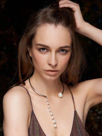 Faux Pearl Pendant Golden Necklace For Women