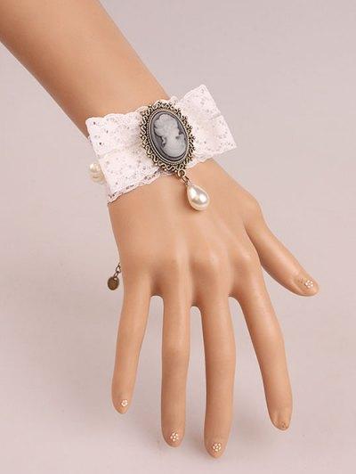Faux Pearl Lace Cameo Bracelet