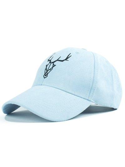 Elk Head Embroidery Faux Suede Baseball Hat