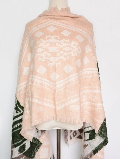 Geometry Printed Outdoor Warm Fringed Pashmina Scarf