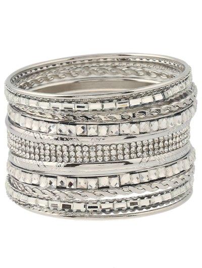 Rhinestone Embossed Layered Bracelets