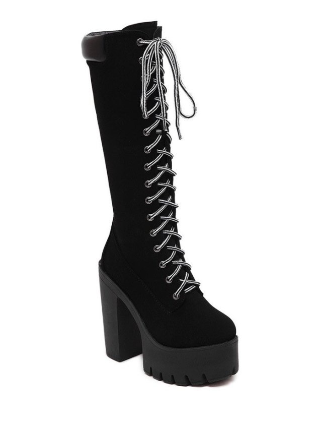 Black Design Mid-Calf Boots For Women