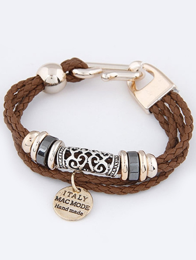 Disc Layered Braided Bracelet