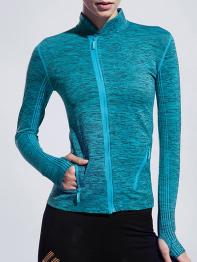 Stand Collar Space Dyed Long Sleeve Jacket For Women
