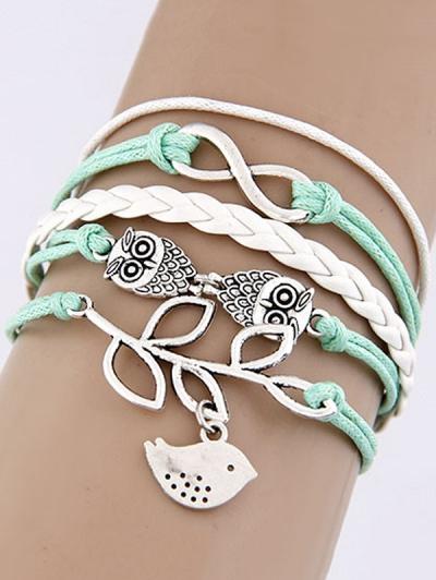 Owl Birdie Infinity Braided Bracelet