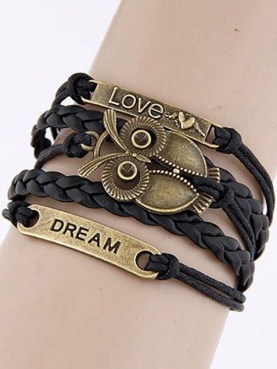 Carving Owl Letters Braided Bracelet
