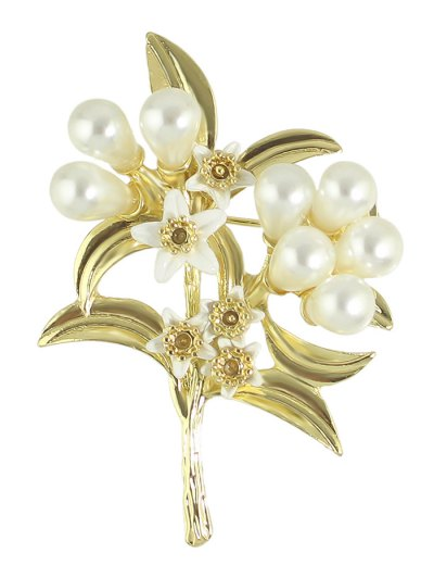 Faux Pearl Alloy Leaf Floral Brooch