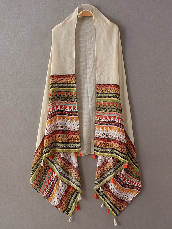 Triangle Stripe Pattern Tassel Pashmina