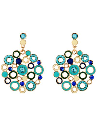 Rhinestone Alloy Circle Drop Earrings