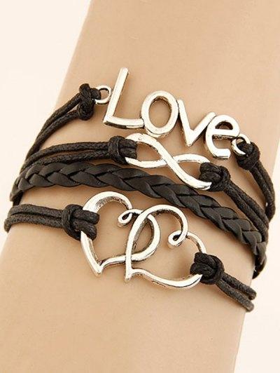 Interlink Heart Letters Braided Bracelet