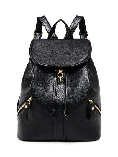 PU Leather Zippers Backpack