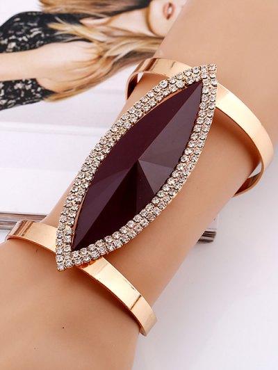 Alloy Rhinestone Layered Leaf Cuff Bracelet