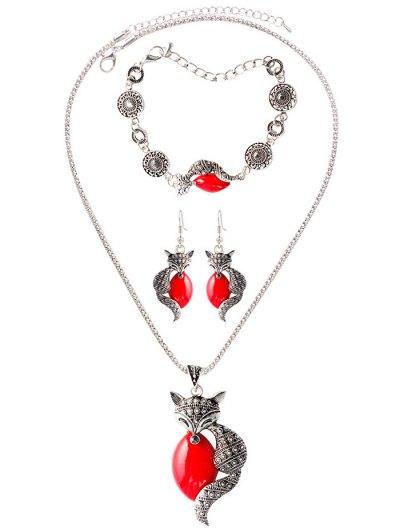 Faux Gemstone Fox Circle Jewelry Set