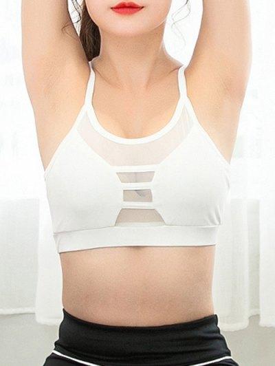Mesh Spliced Sheer Padded Yoga Bra