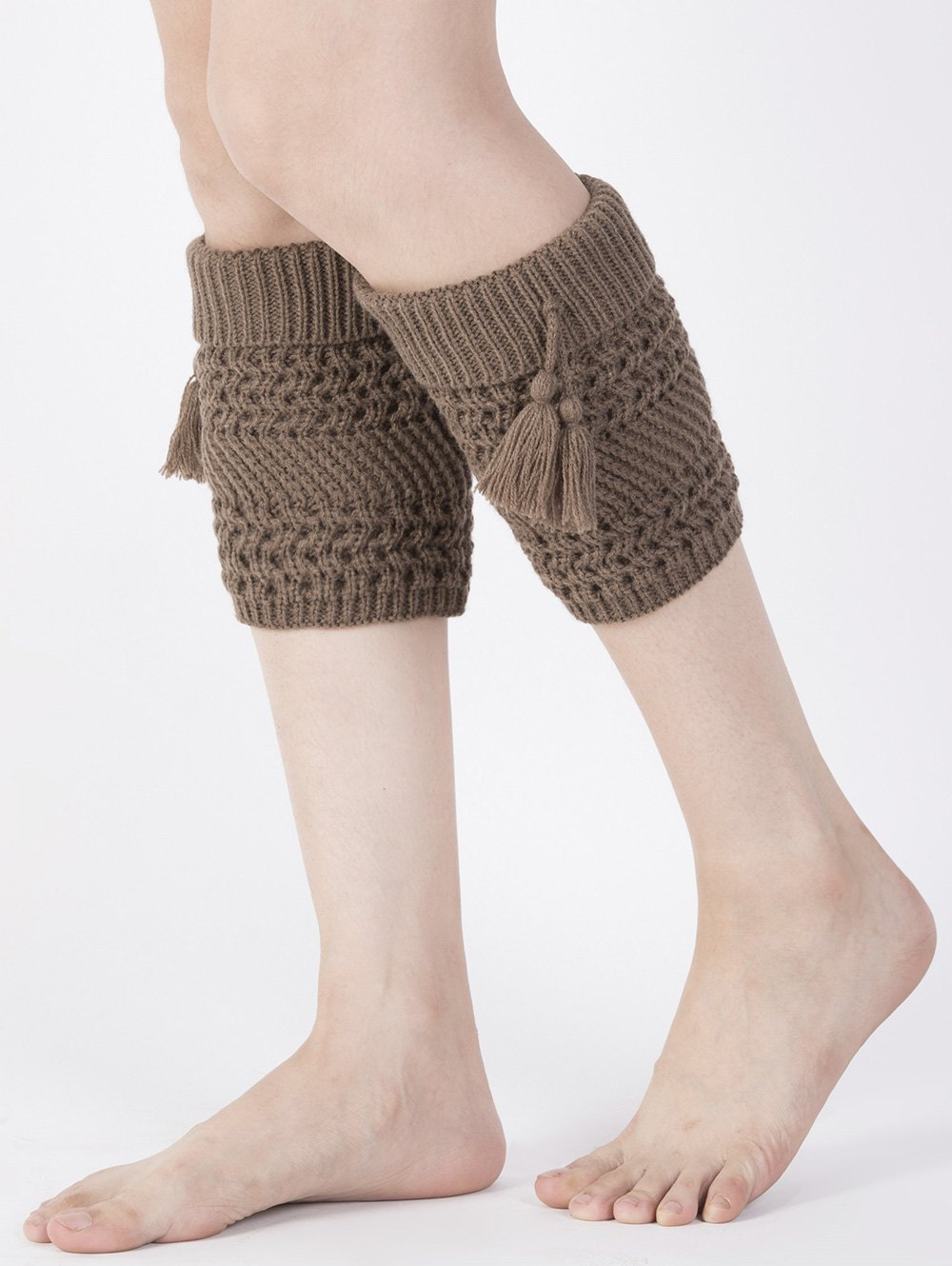 Tassel Pendant Flanging Knitted Boot Cuffs