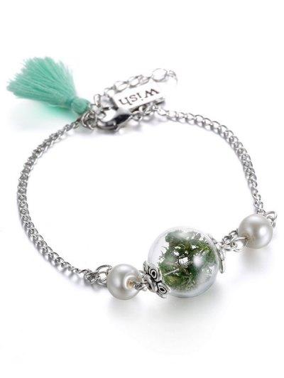 Glass Dry Plant Tassel Faux Pearl Bracelet