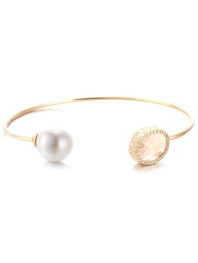 Faux Pearl Crystal Cuff Bracelet
