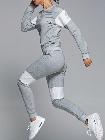 Letter Print Sweatshirt With Pants Gym Outfits