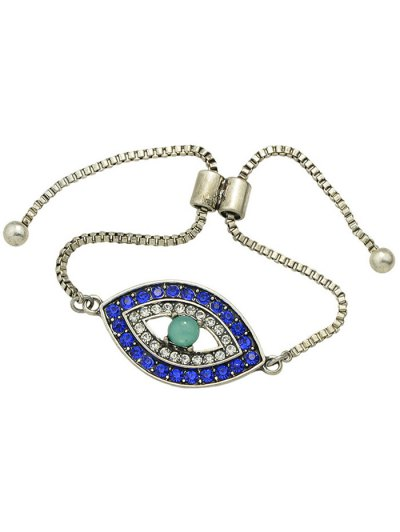 Alloy Rhinestone Eye Shape Bead Bracelet