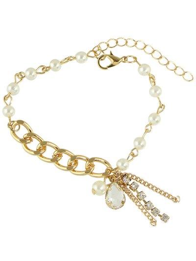 Faux Pearl Water Drop Charm Bracelet