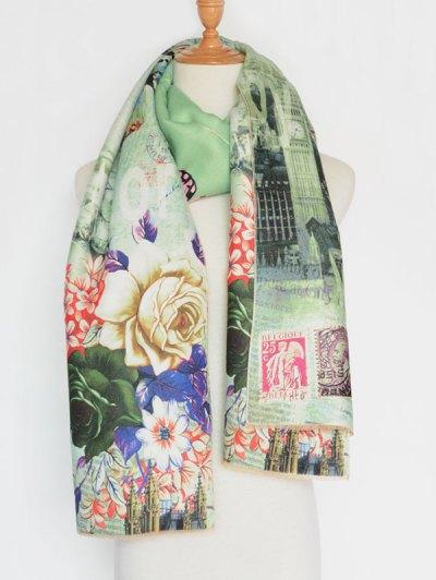 Big Flower Printing Cotton Shawl Scarf