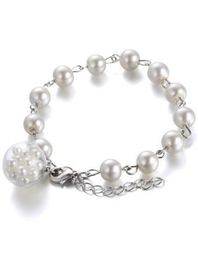 Glass Faux Pearl Beaded Charm Bracelet