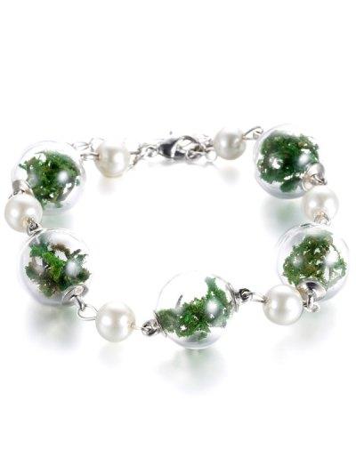 Faux Pearl Glass Dry Plant Bracelet