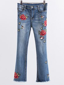 Rose Embroidered Frayed Boot Cut Jean