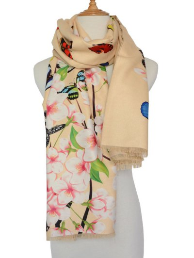 Butterfly and Peach Flower Print Shawl Scarf