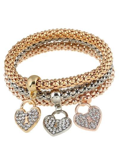 Rhinestoned Heart Charm Bracelets