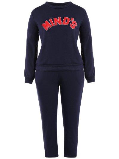 Round Neck Letter Print Sweatshirt With Drawstring Pants Twinset