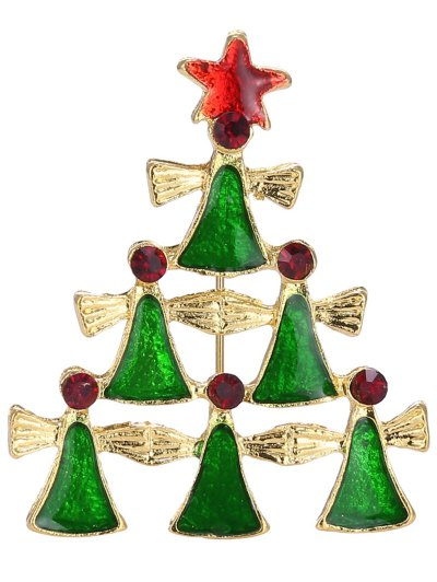 Layered Geometric Pentagram Christmas Tree Brooch