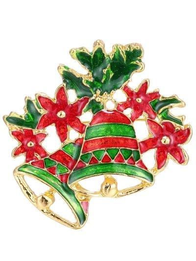 Leaf Flower Christmas Bells Brooch