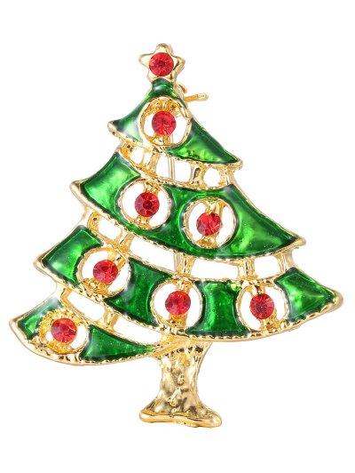 Rhinestone Alloy Pentagram Christmas Tree Brooch