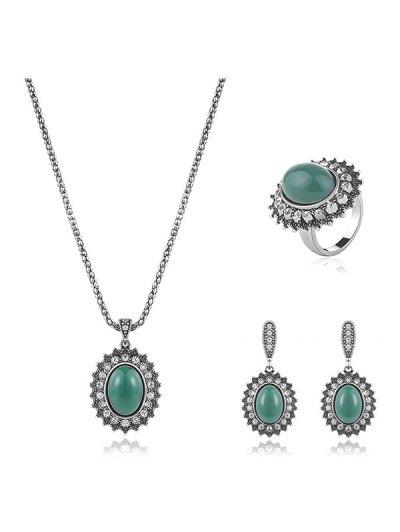 Faux Emerald Rhinestone Geometric Jewelry Set