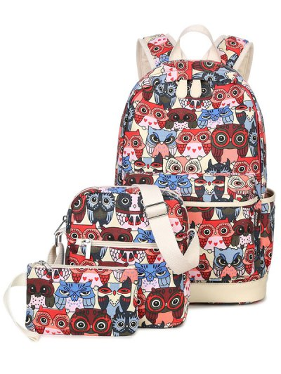 Owl Pattern Canvas Backpack